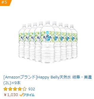 [Amazonブランド]Happy Belly天然水 岐阜・美濃 (2L)×9本